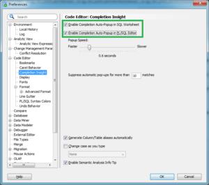 SQL Developer Completion Insight setting